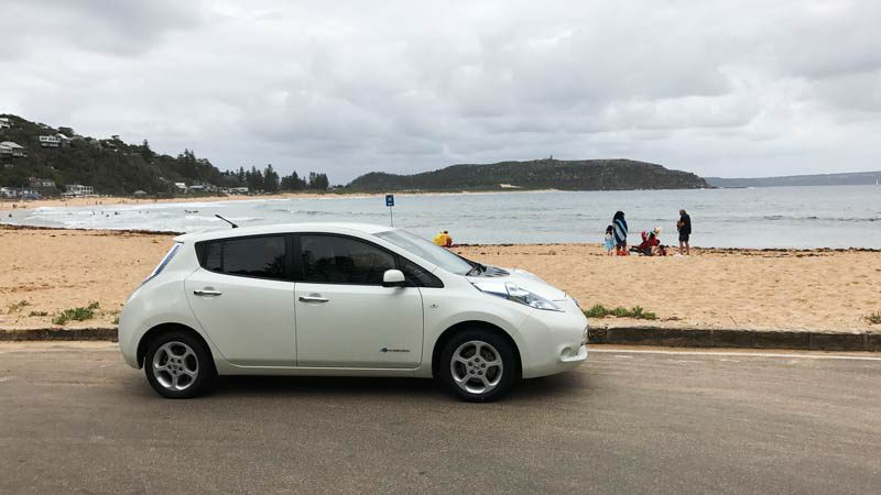 Visiting Avalon with Evee's Nissan Leaf. Supplied.