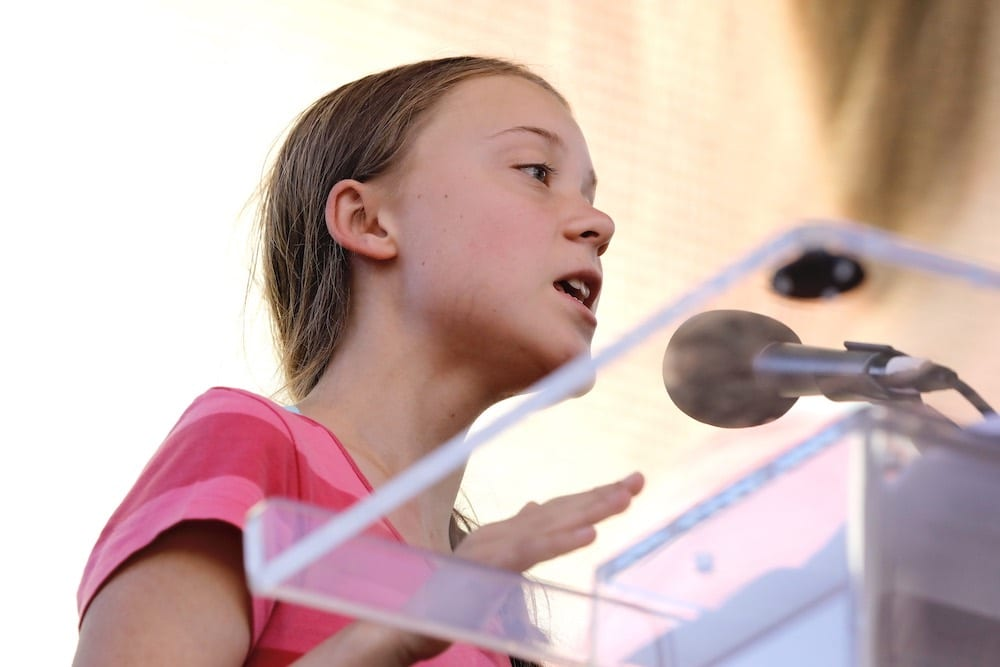 Greta Thunberg speaks at the Youth Climate Strike in Battery Park in New York
