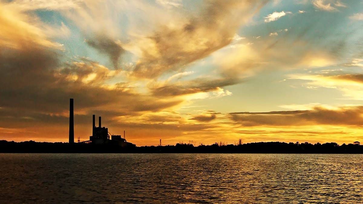 Delta Electricity Vales Point coal fired power station at Sunset - canva - optimised