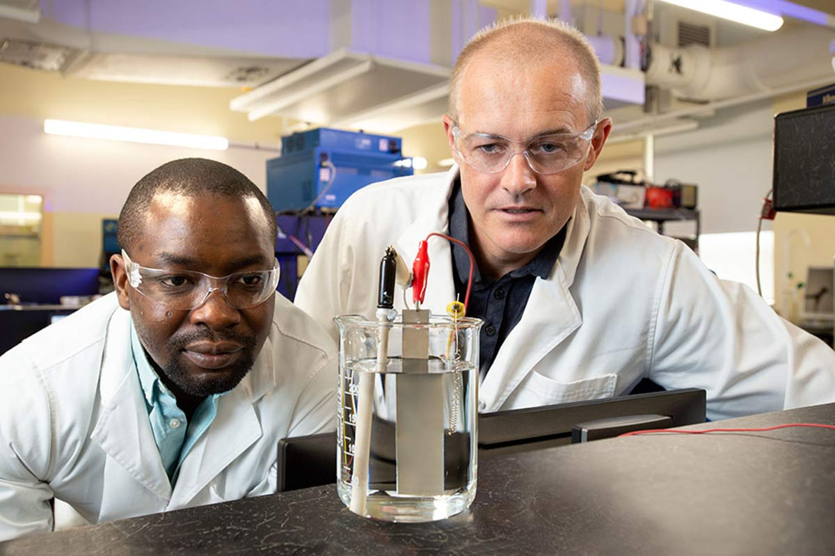 PhD researcher Olawale Oloye and Professor Anthony O'Mullane from the QUT Centre for Clean Energy Technologies and Practices.