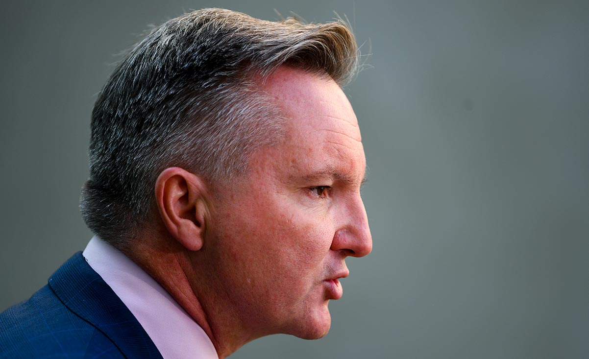 Shadow Energy Minister Chris Bowen speaks during a press conference at Parliament House in Canberra. (AAP Image/Lukas Coch).