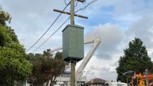 One of 40 community batteries to be distributed as part of a United Energy trial in Victoria.