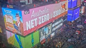 """Comedian Dan Ilic organised the Times Square billboard labelling Scott Morrison as """"Coal-o-phile Dundee"""". (Source: YouTube)."""
