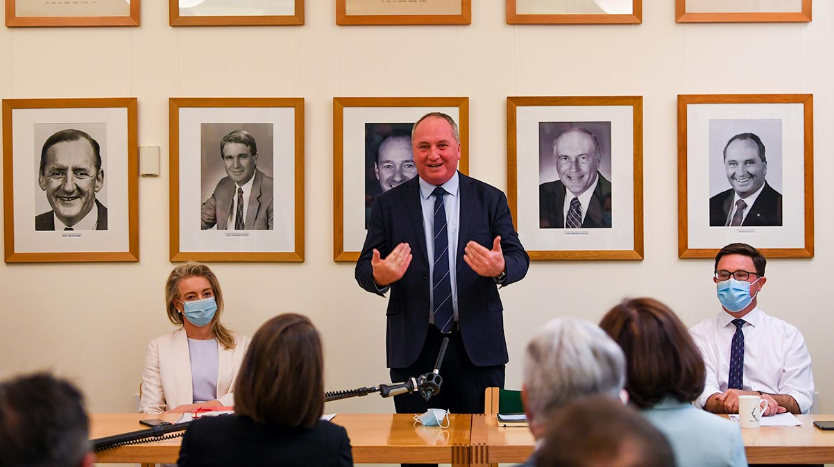 Nationals leader Barnaby Joyce addressing the Nationals Party Room at Parliament House in Canberra - aap - optimised
