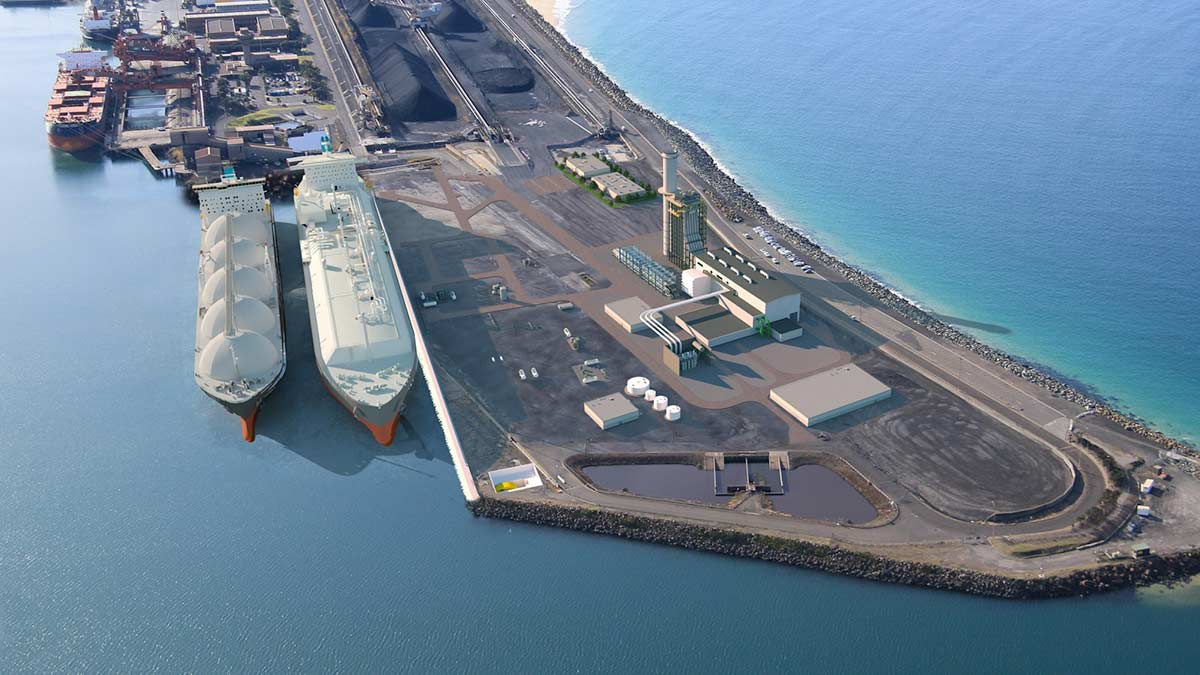 An artist impression of the proposed Port Kembla Energy Hub. Photo Credit: GHD.